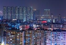 Hong Kong buildings at night Stock Images