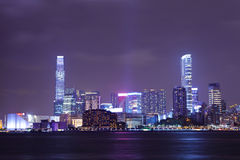 Hong kong  buildings at night Stock Image