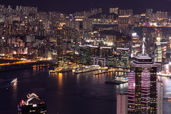 Hong Kong Buildings Night Scene Fotografia de Stock Royalty Free