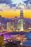 Hong Kong buildings at sunset Royalty Free Stock Images
