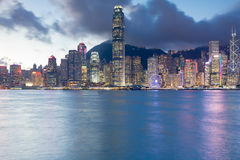 Hong Kong business area night light sea front Royalty Free Stock Photo