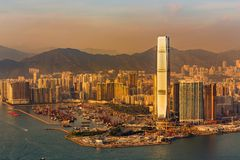 Hong Kong business area over Victoria bay. Cityscape background stock image