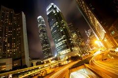 Hong Kong Business Center bij Nacht Royalty-vrije Stock Foto