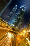 Hong Kong Business Center en la noche Imagenes de archivo