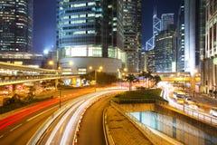Hong Kong Business Center en la noche Fotos de archivo libres de regalías