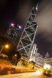 Hong Kong Business Center at Night Stock Images
