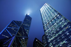 Hong Kong Business District at Night Royalty Free Stock Photo