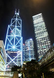 Hong Kong Business District at Night Royalty Free Stock Image