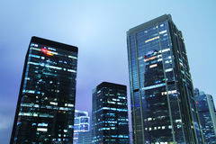 Hong Kong Business District at Night Stock Image