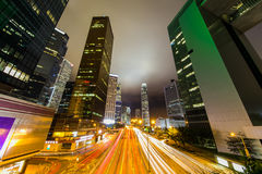 Hong Kong Business District at Night with Light Track Stock Images