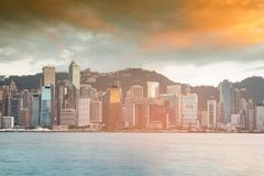 Hong Kong business downtown area seafront Stock Image