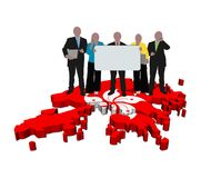 Hong Kong business team on map flag illustration Stock Images