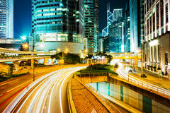 Hong Kong bussines center at night Stock Image