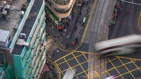Hong Kong busy crossroad Day aerial timelapse. 4L stock video