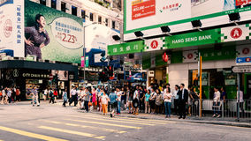 Hong kong busy street and shops Royalty Free Stock Photos