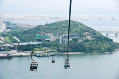 Hong Kong Cable Car an Ngong-Klingeln stockfotografie