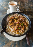 Hong Kong Cafe Style Satay Beef Rice Noodles. Satay beef soup noodles is featured in many Hong Kong cafes. Typically served with milk tea, the local dish is a Stock Photos