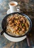 Hong Kong Cafe Style Satay Beef Rice Noodles Stock Photos