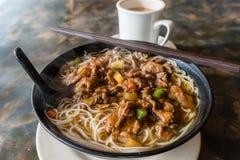 Hong Kong Cafe Style Satay Beef Rice Noodles Royalty Free Stock Photo