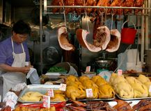 Hong Kong: Canton Road Butcher Shop royalty free stock photo