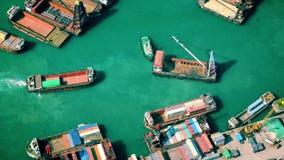 Hong Kong cargo port at Victoria harbor stock footage