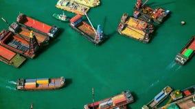 Hong Kong cargo port at Victoria harbor stock video