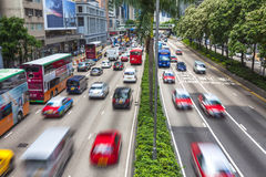 Hong Kong Cars and Taxi Traffic Royalty Free Stock Photo