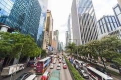 Hong Kong Cars- und Taxi-Verkehr Stockbilder