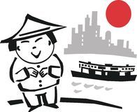 Hong Kong cartoon. Cartoon of Asian man in coolie hat standing in front of harbor with ferry and buildings in background Stock Photo