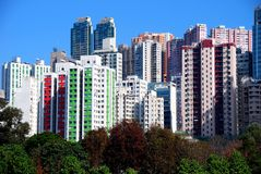Hong Kong: Causeway Bay Apartment Towers Royalty Free Stock Photos