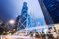 Hong Kong CBD. Central business district of Hong Kong at night stock image