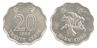 20 Hong Kong cent mynt Fotografering för Bildbyråer
