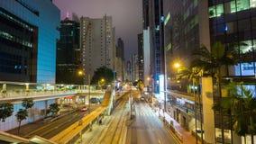 Hong Kong center night traffic street bridge panorama 4k time lapse china stock footage