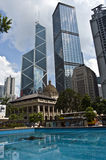 Hong Kong Central. Square with its fountain royalty free stock image