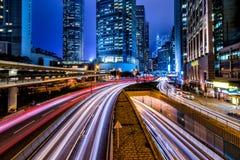 Hong Kong Central Business District at Night Stock Photos