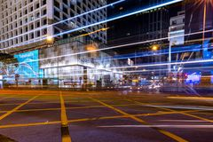 Hong Kong Central Business District at Night with Light Track stock photography