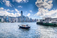 Hong Kong Central Business District on Victoria Harbor Royalty Free Stock Photos