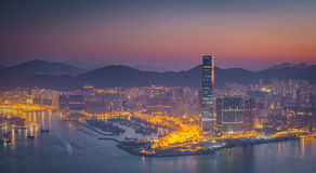 Hong Kong central district skyline and Victoria Harbour view at Royalty Free Stock Images