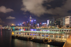 Hong Kong Central Ferry Pier at Night Stock Photography