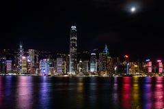 Hong Kong Central Harbor sikt vid natt Arkivbilder