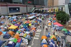 Hong Kong, central, revolución del paraguas Foto de archivo libre de regalías