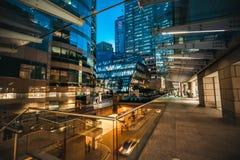 Hong Kong Central Street Scene alla notte Fotografia Stock