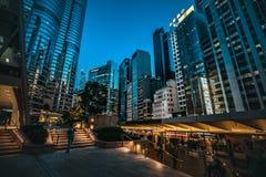 Hong Kong Central Street Scene alla notte Immagine Stock Libera da Diritti