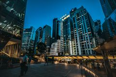 Hong Kong Central Street Scene alla notte Immagini Stock