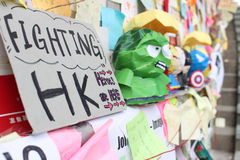 Hong Kong, Central, Umbrella revolution. Sit-in protests in Hong Kong involving mass civil disobedience began in September 2014. Also called the Umbrella Royalty Free Stock Photo