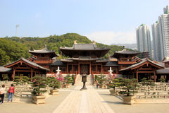 The Hong Kong Chi Lin Nunnery, a large Buddhist temple complex b Royalty Free Stock Photo