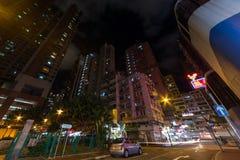 Hong Kong, China - circa September 2015: Streets of Hong Kong Kowloon district by   night Stock Images