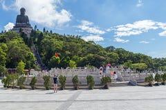 Hong Kong, China - circa September 2015: Tian Tan Big Buddha in Po Lin Monastery op Lantau-Eiland, Hong Kong Royalty-vrije Stock Foto