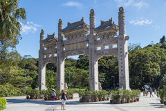 Hong Kong, China - circa September 2015: Traditional Chinese gates with three sections in Po Lin  Monastery Royalty Free Stock Photos