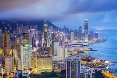 Hong Kong China City Skyline Arkivfoto